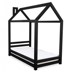 HAPPY BED IN THE SHAPE OF A HOUSE - BLACK LACQUER