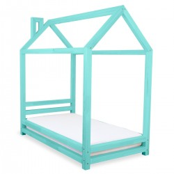 HAPPY BED IN THE SHAPE OF A HOUSE - TURQUOISE LACQUER