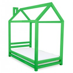 HAPPY BED IN THE SHAPE OF A HOUSE - GREEN LACQUER