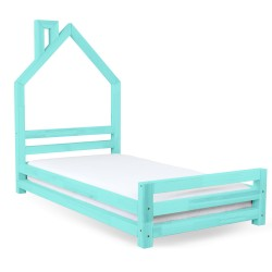 HOUSE-SHAPED WALLY BED - TURQUOISE VARNISH