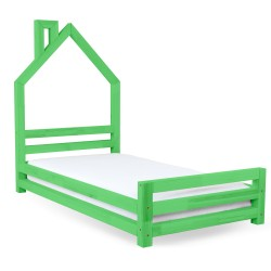 HOUSE-SHAPED WALLY BED - GREEN VARNISH