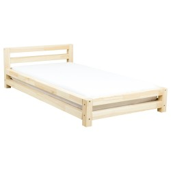 SINGLE SINGLE BED - TRANSPARENT LACQUER