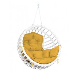 ELIS WHITE CHAIR - MUSTARD PILLOW