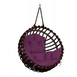 ELIS ARMCHAIR BROWN - PURPLE PILLOW