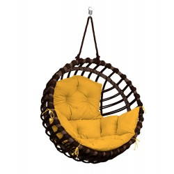 ELIS BROWN CHAIR - MUSTARD PILLOW