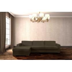 STELA - CAMA SOFÁ ESQUINA DE 2.5 PLAZAS con colchón 145 cm y con espacio de almacenamiento (MARRÓN)