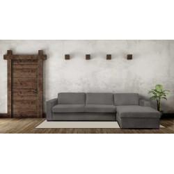 STELA - CAMA SOFÁ ESQUINA DE 2.5 PLAZAS con colchón 145 cm y con espacio de almacenamiento (GRIS)