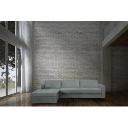 STELA - CAMA SOFÁ ESQUINA DE 2.5 PLAZAS con colchón 145 cm y con espacio de almacenamiento (PLATINO)