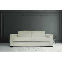 STELA - 3 SEATER SOFA BED with mattress 165 cm (OATMEAL)